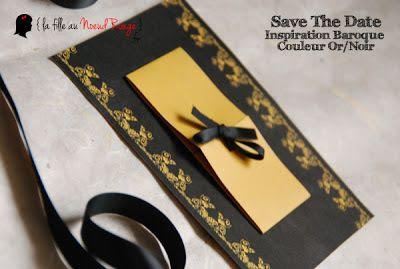 save the date mariage sur-mesure baroque or noir
