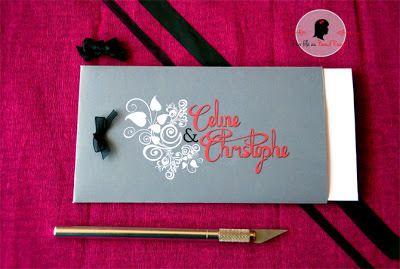 faire-part de mariage sur-mesure pochette pop up rose fuchsia gris blanc