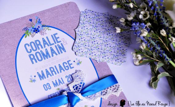 faire-part de mariage sur-mesure champêtre romantique bleu roi