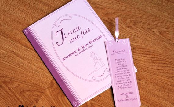 faire-part de mariage et décoration papeterie sur-mesure notre histoire livre marque-page