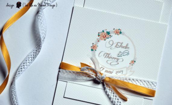 faire-part de mariage et décoration papeterie sur-mesure chevron champêtre