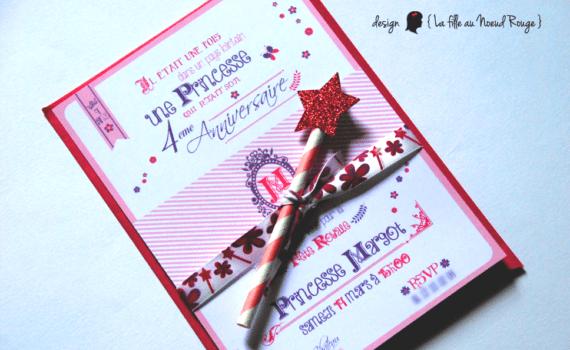 invitation anniversaire sur-mesure et décoration papeterie princesse royale rose