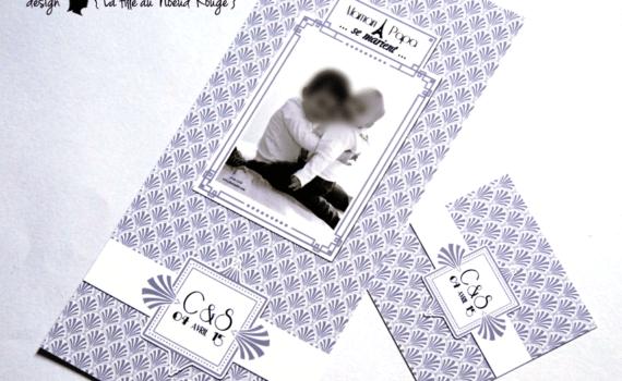 faire-part de mariage et décoration papeterie sur-mesure rétro vintage gatsby noir blanc