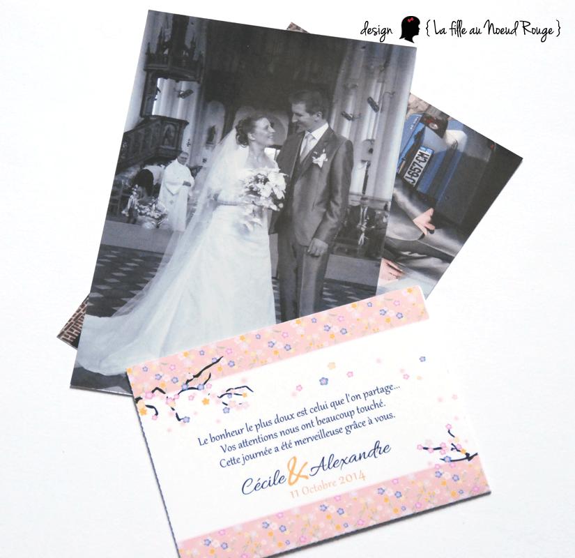 faire-part de remerciement mariage sur-mesure pochette japon fleurs de cerisiers