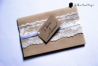 faire-part de mariage sur-mesure et décoration papeterie pochette kraft coupon réponse rsvp dentelle