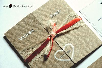faire-part de mariage sur-mesure et décoration papeterie dentelle corail toile de jute arabesque