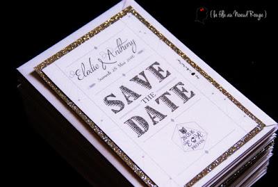 save the date mariage paillette logo des maries