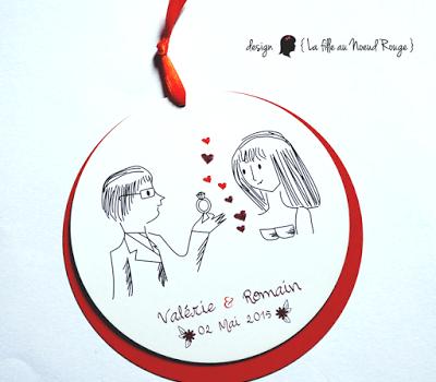 faire-part de mariage sur-mesure et décoration papeterie rond dessin illustration colombes cœur coupon dîner