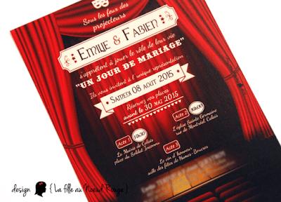 faire-part de mariage sur-mesure et décoration papeterie cinéma théâtre coupon détachable