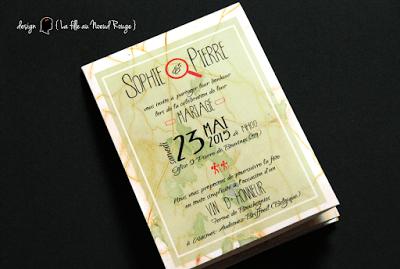 faire-part de mariage sur-mesure et décoration papeterie randonnée nature aventure carte ign dessin illustration coupon dîner