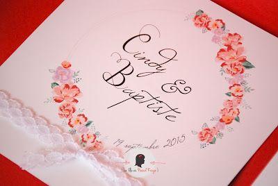 faire-part de mariage sur-mesure et décoration papeterie rétro vintage aquarelle couronne de fleurs dentelle