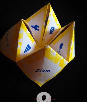 faire-part de baptême sur-mesure et décoration papeterie géométrie chevron moderne jaune bleu