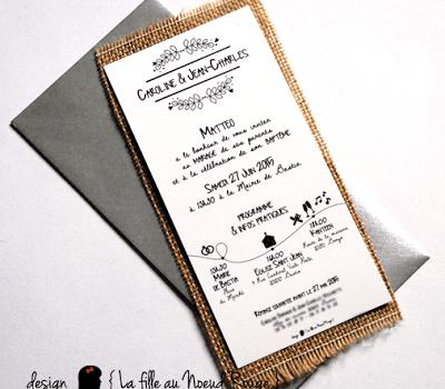 faire-part de mariage sur-mesure et décoration papeterie toile de jute programme symbole