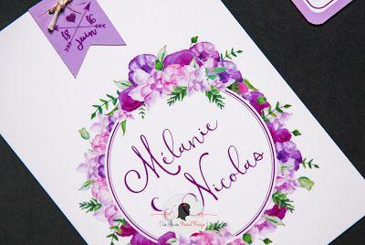 faire-part de mariage sur-mesure et décoration papeterie fleurs aquarelle parme violet romantique