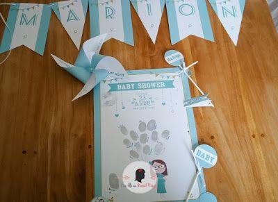 faire-part de baby shower sur-mesure et décoration papeterie bleu vert illustration animaux pois