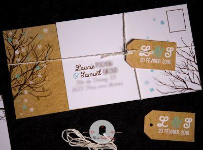 faire-part de mariage sur-mesure et décoration papeterie hiver arbre kraft flocon pomme de pin remerciement