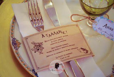 faire-part de mariage sur-mesure et décoration papeterie kraft alice au pays des merveilles marque-place menu vintage