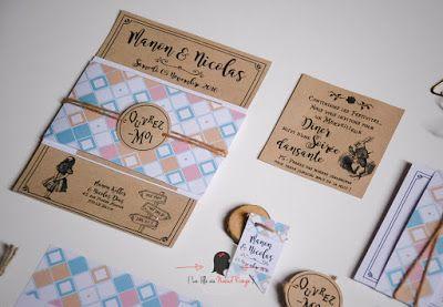 faire-part de mariage sur-mesure et décoration papeterie kraft alice au pays des merveilles etiquette cadeaux invités