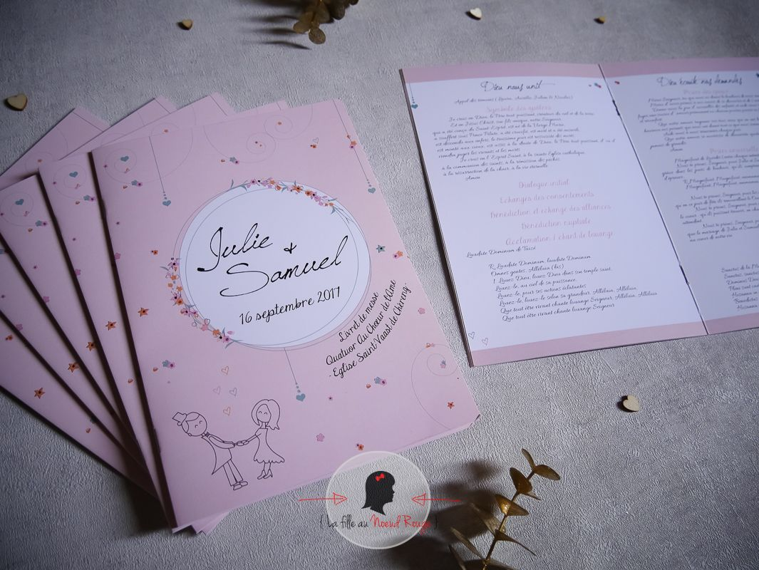 Décoration mariage sur-mesure champêtre illustration rose blanc livret de messe (1)