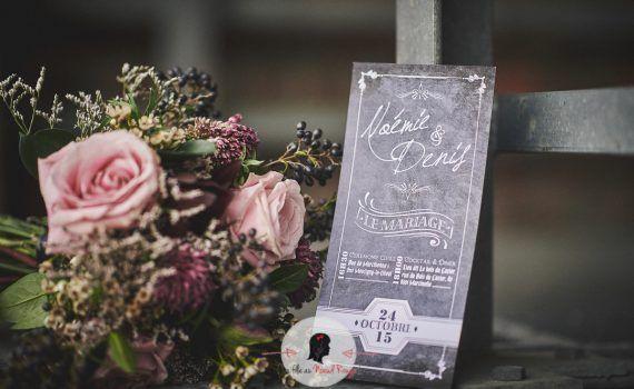 faire-part de mariage sur-mesure et décoration papeterie ardoise industriel chic