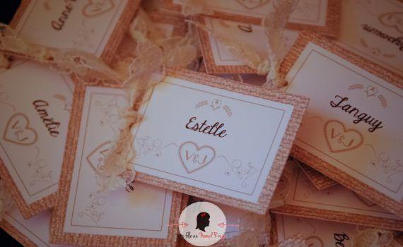 Marque-place à personnaliser mariage baptême anniversaire