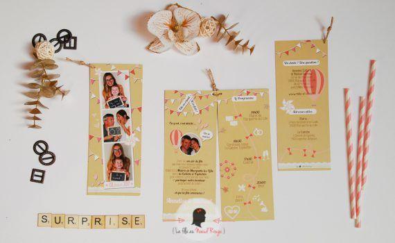 La fille au noeud rouge - Faire-part sur-mesure mariage photomaton fete foraine (3)