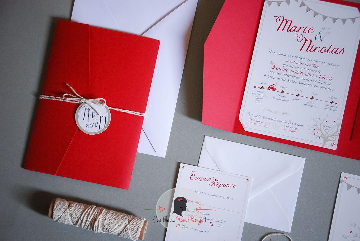 La fille au noeud rouge - Faire-part sur-mesure rouge pochette arbre chic toile de jute champêtre champagne