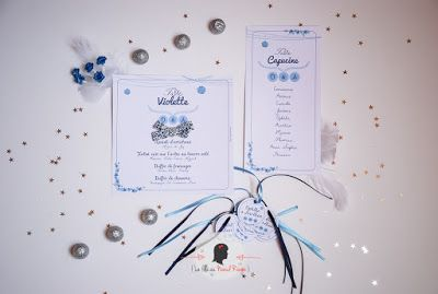 faire-part de mariage sur-mesure et décoration papeterie liberty bleu champêtre