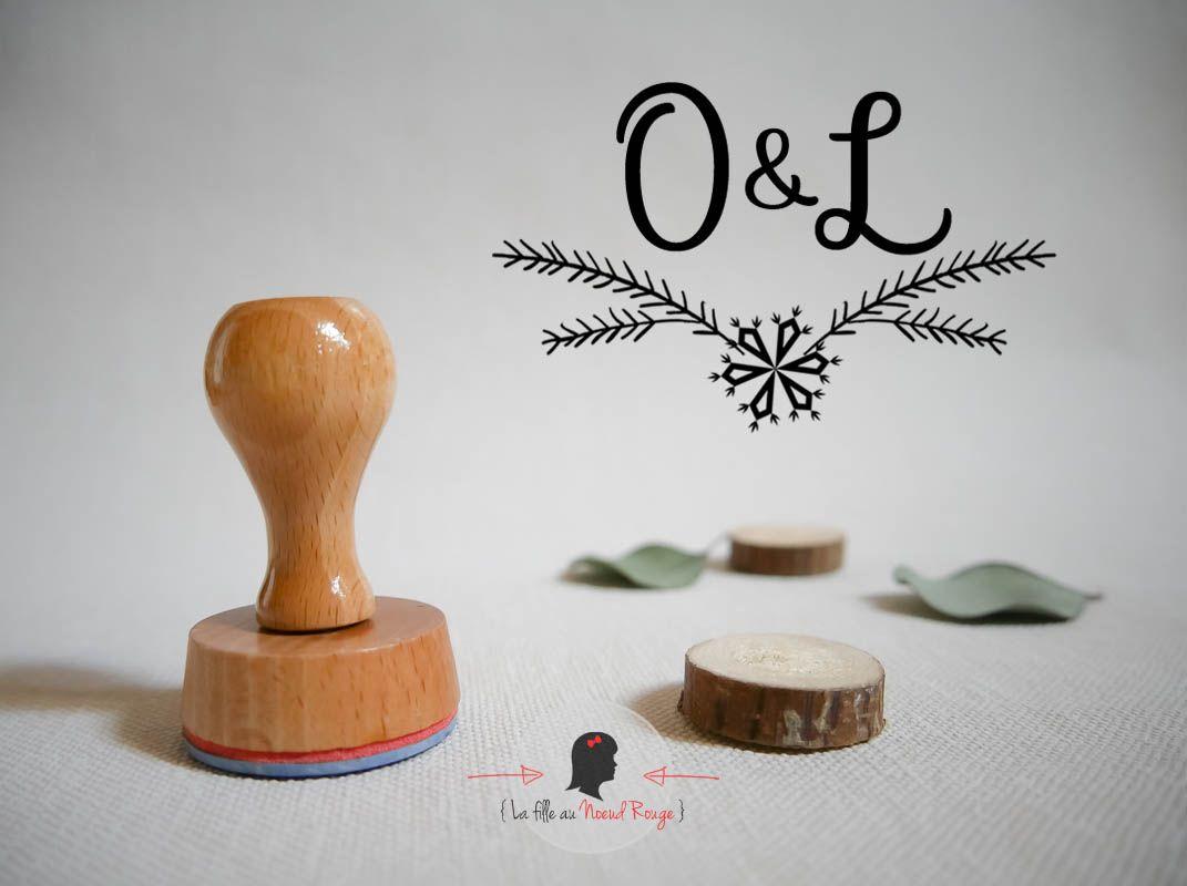 Tampon bois sur-mesure carré logo marié hiver