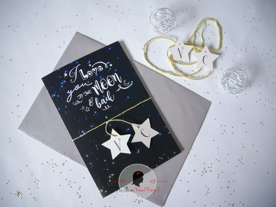 La fille au Noeud Rouge - faire-part mariage sur-mesure constellation étoile lune vois lactée univers cosmique