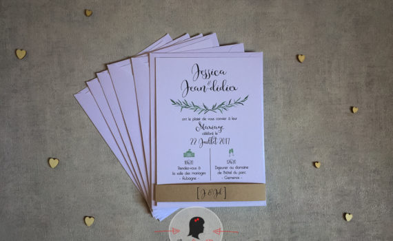 Faire-part mariage sur mesure et papeterie minimaliste romarin nature (6)