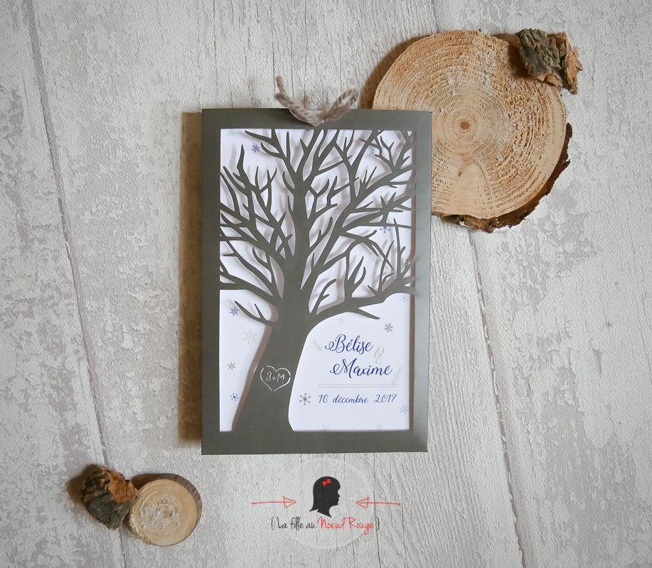 Faire-part mariage sur mesure hiver taupe bleu roi découpe laser arbre(1)