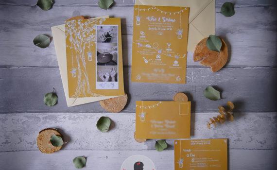 La fille au Noeud Rouge - faire-part mariage sur-mesure champêtre kraft mason jar arbre de vie pastel blanc programme de la journée avec pictos fleurs coupon réponse