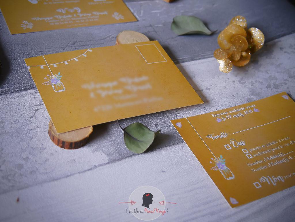 faire-part mariage sur-mesure champêtre kraft mason jar arbre de vie pastel blanc programme de la journée avec pictos fleurs coupon dîner coupon réponse