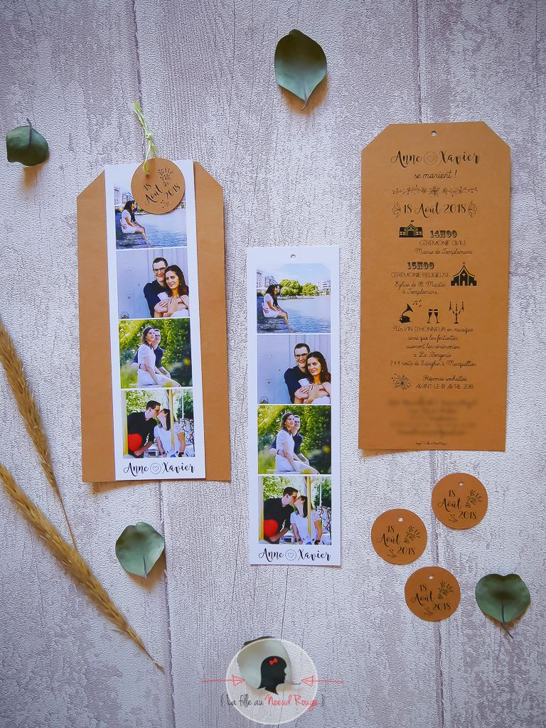 La fille au noeud rouge - Faire-part mariage sur-mesure photomaton kraft champêtre illustration symbole programme minimaliste