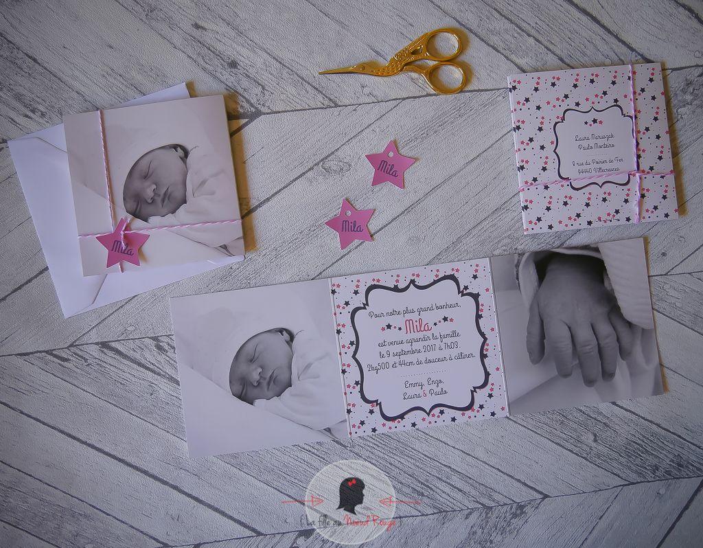 La fille au Noeud Rouge - Faire-part naissance sur-mesure fille photo étoile rose triptyque carré élégant