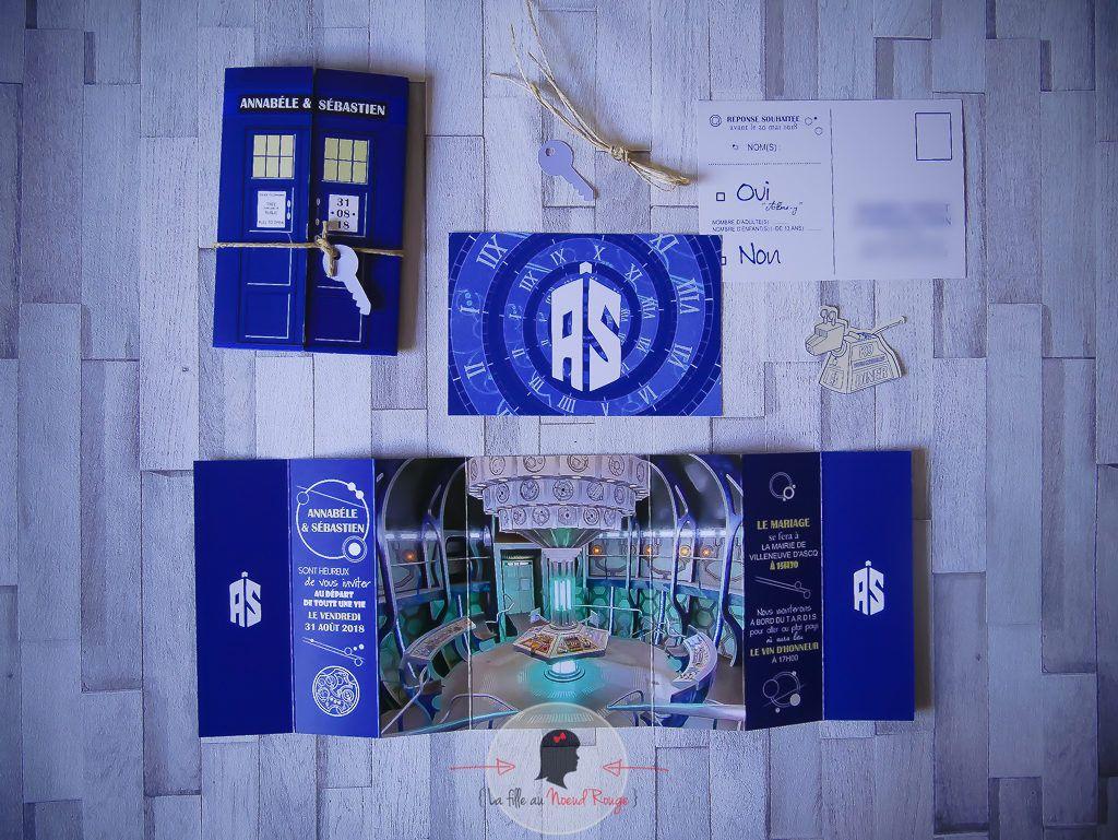 La fille au Noeud rouge - Faire-part sur-mesure mariage série tv doctor who bleu format fenêtre coupon réponse