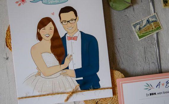 La fille au Noeud rouge - mariage champêtre illustration couleurs pastel fleurs time line programme journée symboles