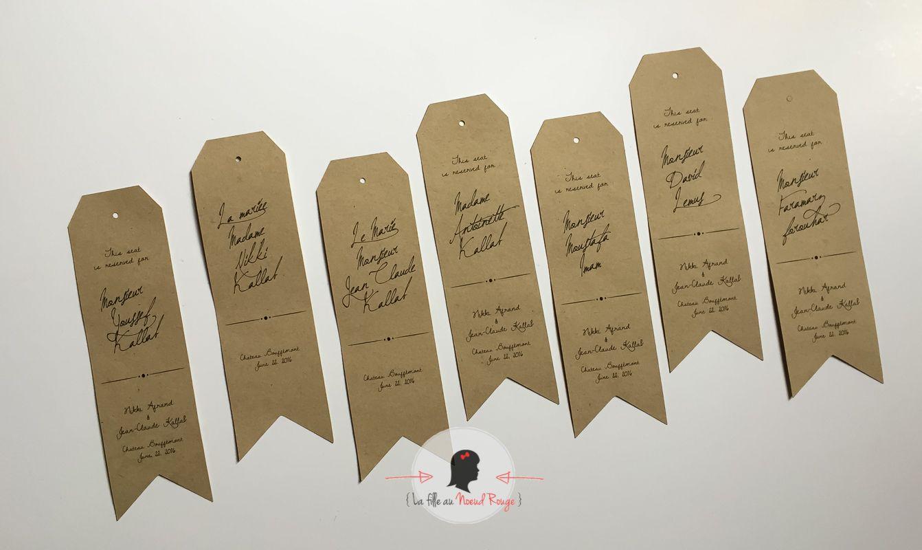 Papeterie mariage personnalisée kraft minimaliste fanion marque-place avec nom des tables romantique