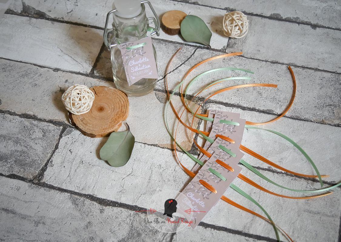 Faire-part mariage sur mesure papeterie champetre corail bière étiquette dragée