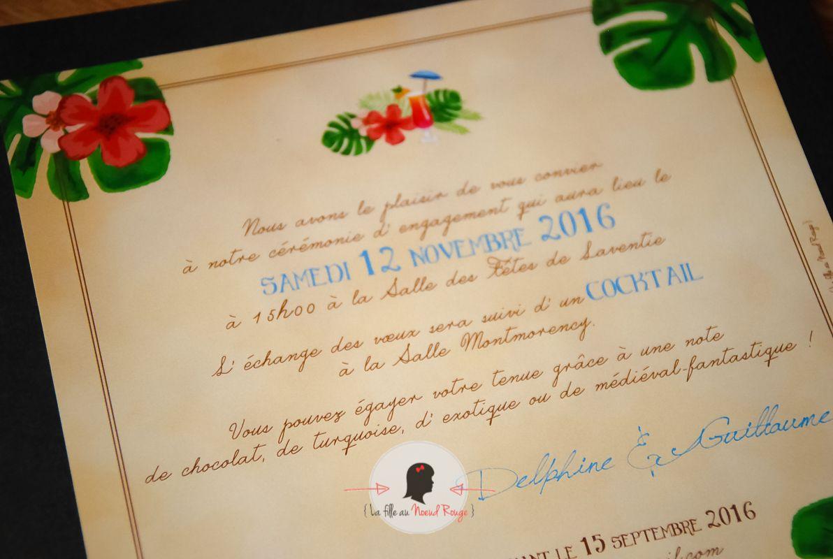 faire-part mariage sur-mesure original médiéval tropical