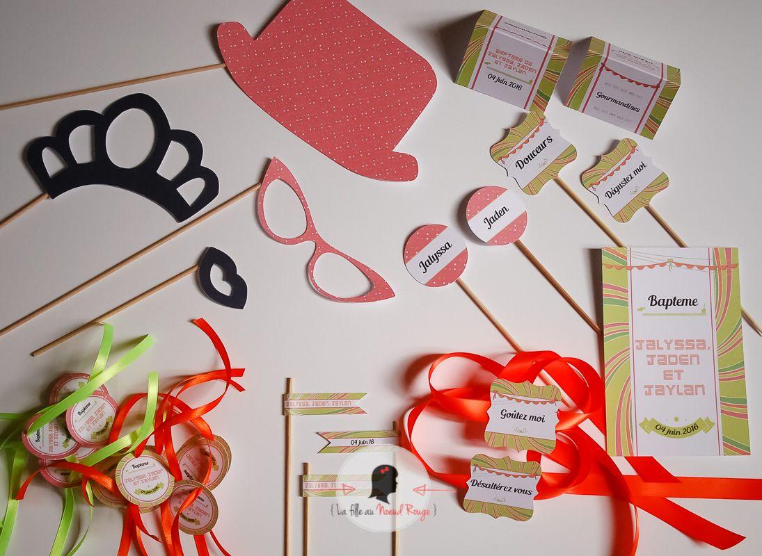 La fille au noeud rouge - Faire-part gourmandise et kit candy bar personnalisé kit photobooth coloré