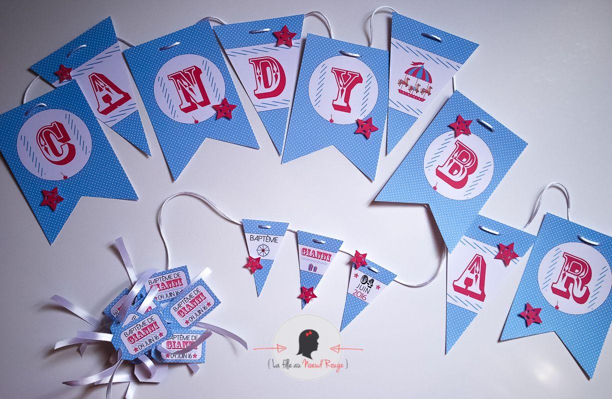 La fille au noeud rouge - Faire-part sur-mesure-fete foraine et kit candy bar personnalise banderole étiquette