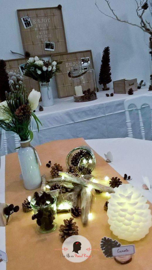 La fille au noeud rouge - décoration papeterie mariage hiver pomme de pin neige menu laine marque-place