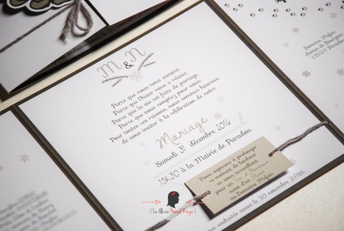 La fille au noeud rouge - Faire-part sur-mesure mariage hiver pomme de pin flocon laine (4)