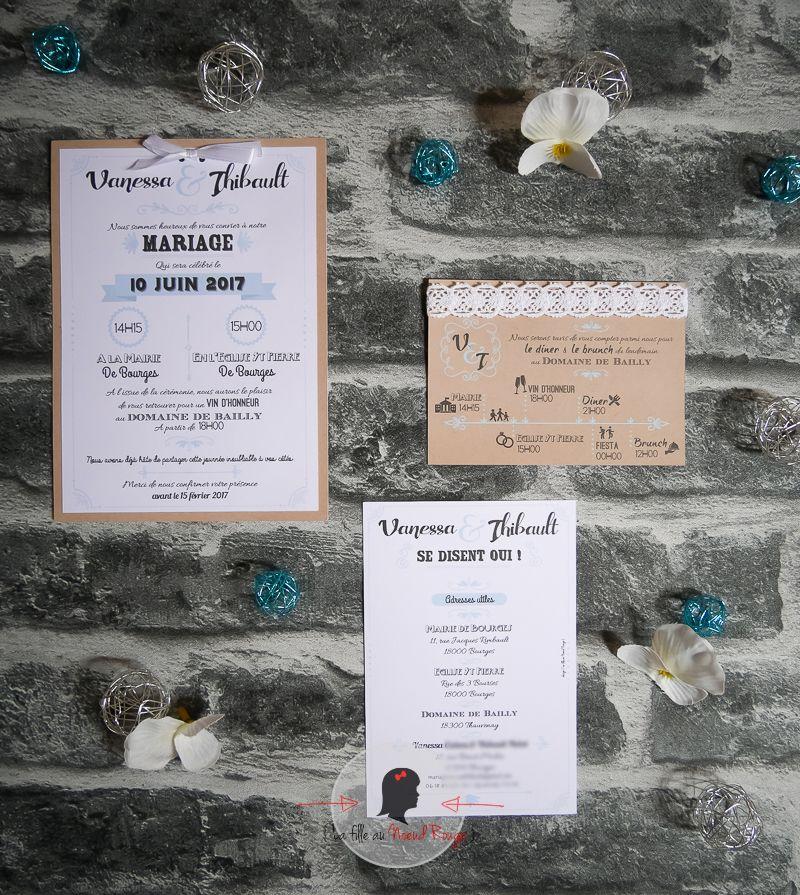 Faire-part mariage sur mesure design jeu de typo kraft time line turquoise dentelle