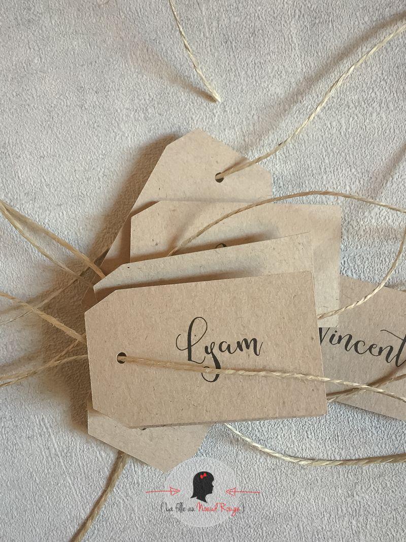 marque-place personnalisé mariage sur mesure et papeterie minimaliste romarin nature kraft