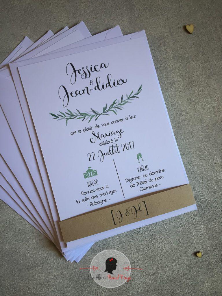 Faire-part mariage sur mesure et papeterie minimaliste romarin nature bucolique