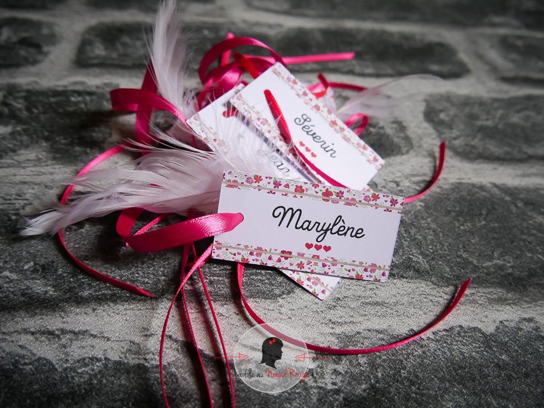 La fille au Noeud Rouge - plan de table papeterie mariage sur mesure liberty kraft marque-place personnalisé