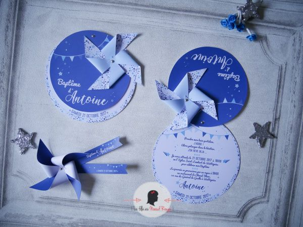 Faire-part baptême garçon sur mesure décoration papeterie moulin à vent étoile bleu